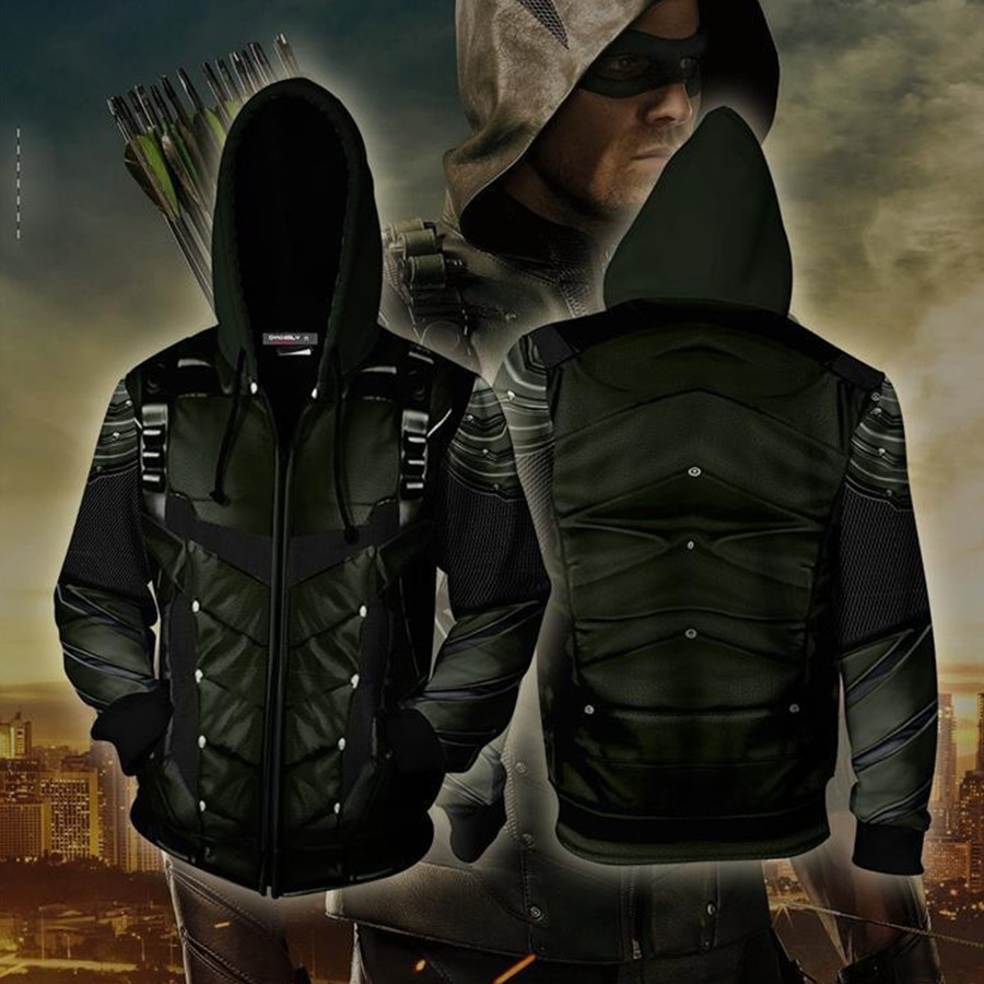 DC Arrow Oliver Queen Cosplay Costume Hoodie Movie Sweatshirts Men Women Jackets 2019 New