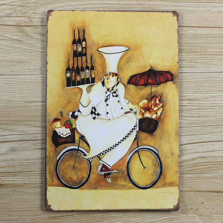 Kitchen chef with wine Vintage metal wall art painting Metal Tin ...
