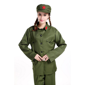 Red guards green army uniform Army Of China performance costume women solider clothing photography military uniform.