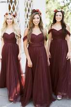 Dark Burgundy Pleat Tulle Long Dresses For Bridesmaid 2019 Elegant Party Gowns  Wedding Guest Dress vestidos e3aaab5ad4ba