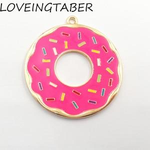 Image 5 - ( Choose Color First )  41mm 10pcs/lot Alloy Doughnut , Full Enamel Donut Pendants For Kids Jewelry Making