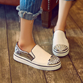 New Brand Spring Rhinestone Leather Shoes Woman Fashion Slip On Platform Women Shoes Flat Comfortable
