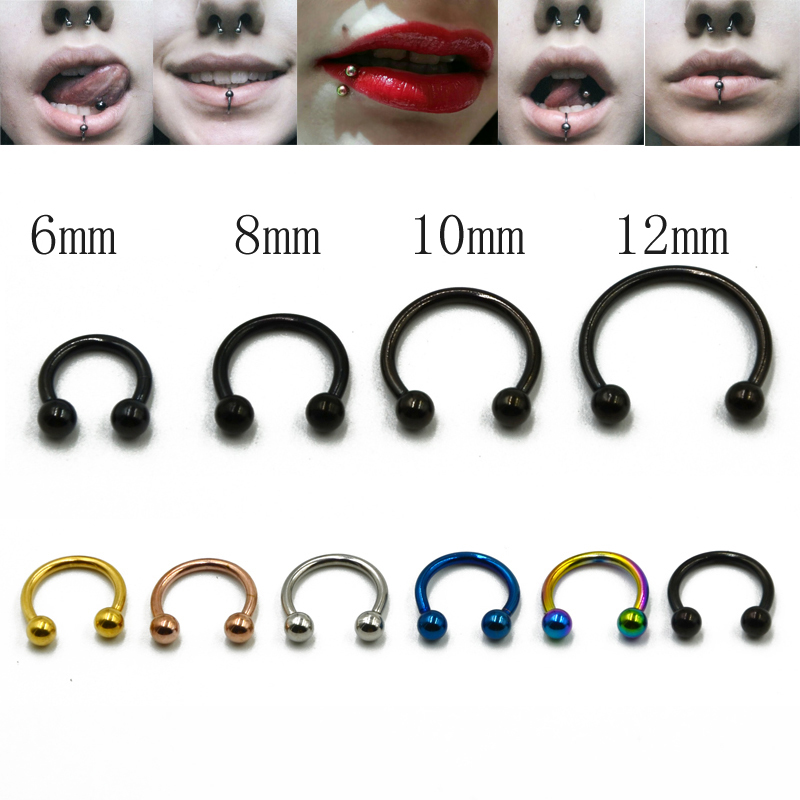 8Pcs Spike Nose Stud Ring Horseshoe Circular Bar Lip Eyebrow Colour Rainbow