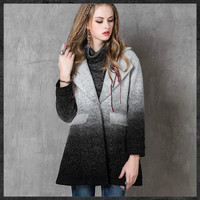 Gray And Black Gradient Color Retro Women Woolen Coat 2016 Autumn Winter Lapel Long Wool Coats