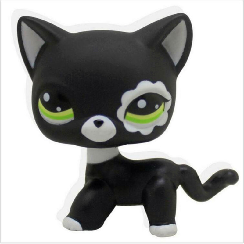 Pet shop toys rare black little cat blue eyes animal models patrulla canina Action figures kids toys gift 20pcs bag little pet shop toys littlest cartoon animal cute cat dog loose action figures collection kids girl toys gift