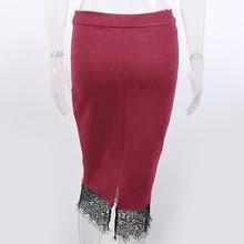 Toplook Split Suede Pencil Skirts Womens 2017 New Wine High Waist Embroidery Bodycon Skirt Knee Length OL Office Elegant Skirts