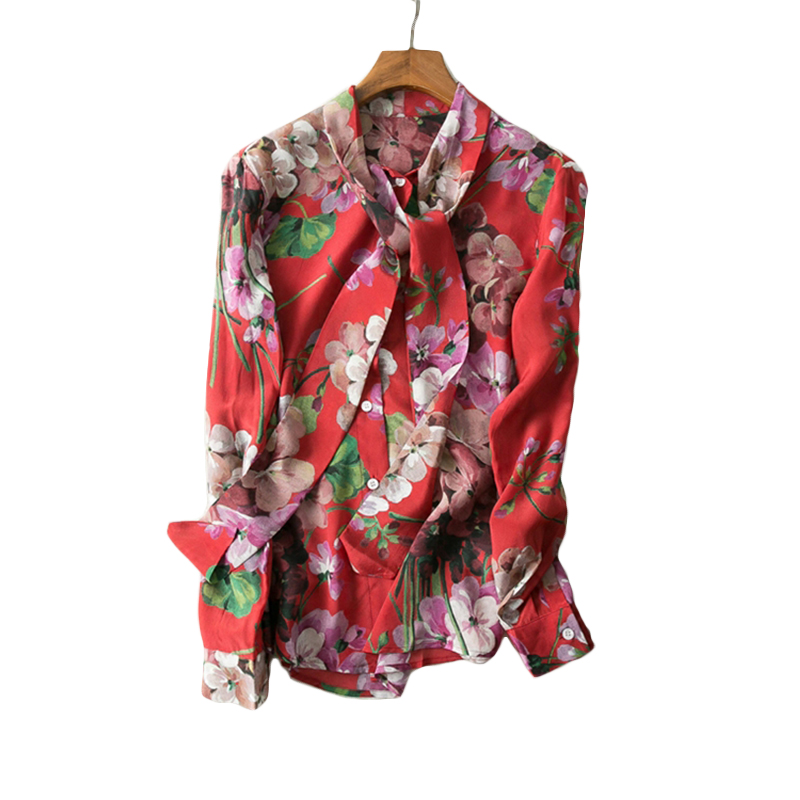 2018 Spring Summer European American Women Long Sleeve Flower Printed Bow Shirt Soft Chiffon Plus Size