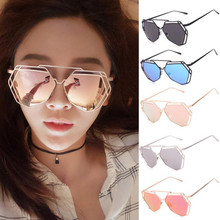 2017New Cat Eye Sunglasses Women Brand Designer Fashion Twin-Beams Rose Gold Mirror Cat eye Sun Glasses For Female oculos de sol