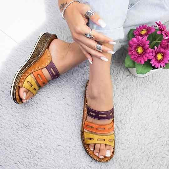 Mode nouveau été femmes sandales 3 couleur couture sandales dames bout ouvert chaussures décontractées plate-forme cale diapositives chaussures de plage