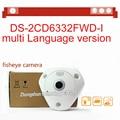 Rápido frete grátis DS-2CD6332FWD-I 3MP Full HD 1080 P PoE WDR 360 graus olho de peixe e-rede dome ptz câmera ip micro sd memória
