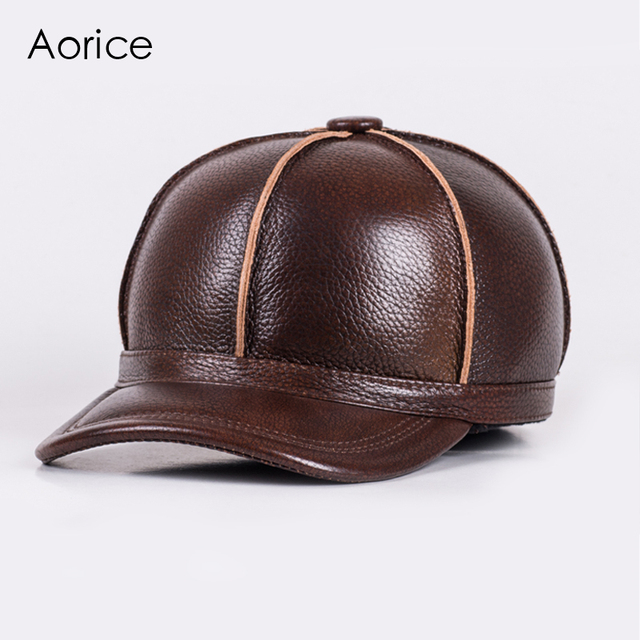HL028  genuine leather men baseball cap hat new brand  men's real leather adult solid adjustable hats/caps