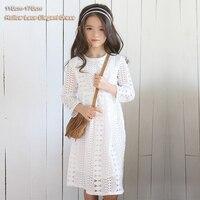2017春夏のティーンエイジャーの女の子のドレス長袖クルーネック中空レースロングドレス子供女の子プリンセスパーティードレ