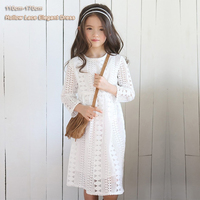 2017 Spring Summer Teenager Girls Dress Long Sleeve Crew Neck Hollow Lace Long Dress Kids Girls