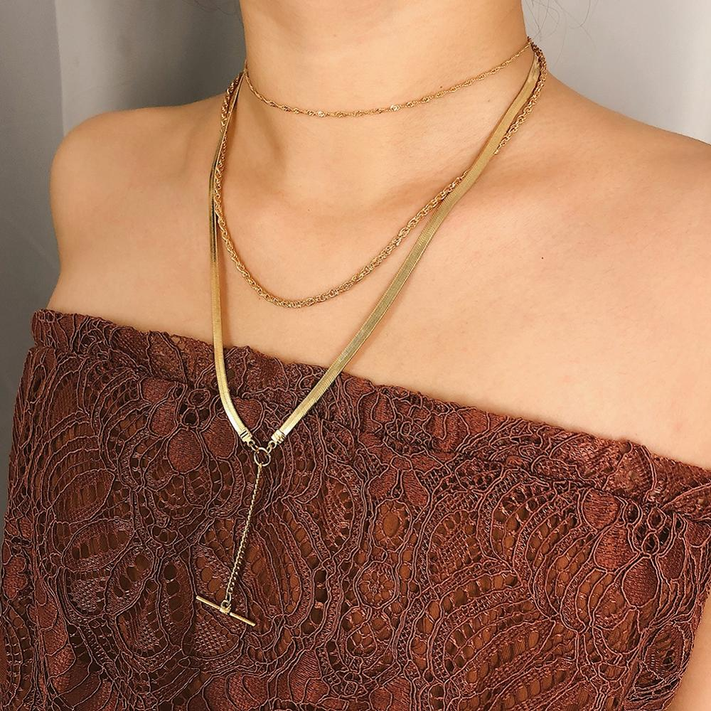 Multi layer Metal Pendant Necklace for Women Simple Bohemian Gold Geometric Necklace Choker Jewelry kolye in Pendant Necklaces from Jewelry Accessories