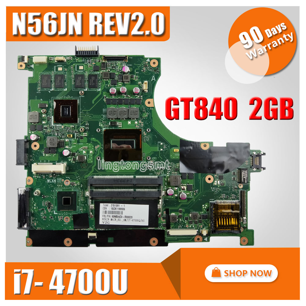 For ASUS Motherboard N56JN Mainboard USB 3.0 DDR3 with I7-4700 REV2.0 GT840M 4 Memory video card 100% Tested