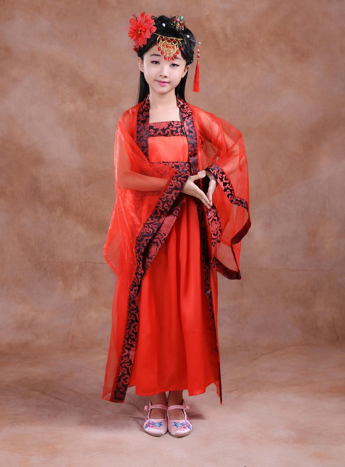 Enfants de Filles Nationales Montrent Des Vêtements Anciens Costume de Scène Chinois Danse Folklorique Client Danse