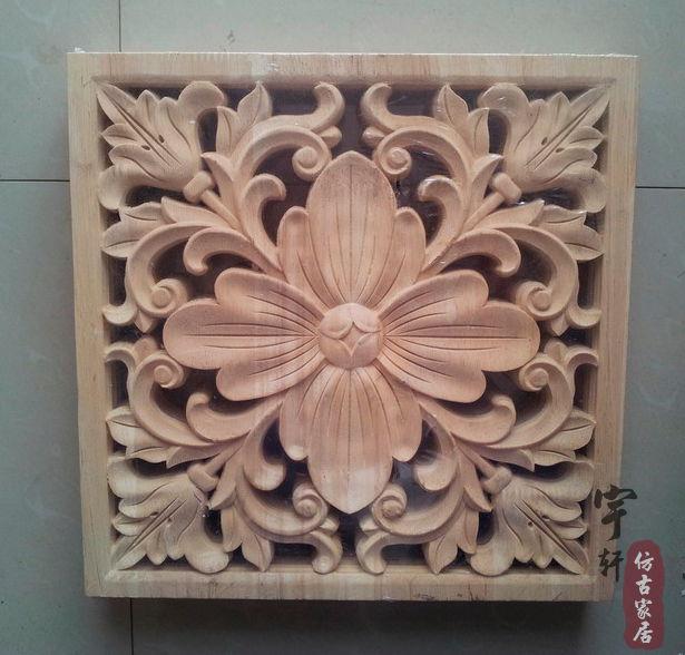 Dongyang Wood Carving Applique Corner Flower Corbel Motif