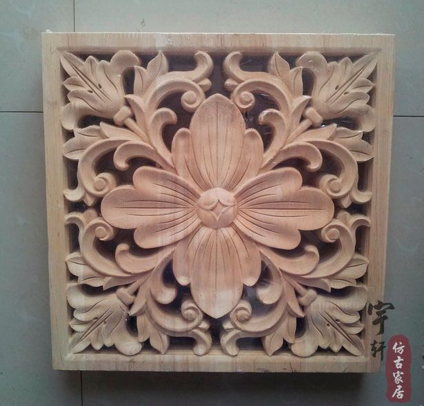 Dongyang Wood Carving Applique Corner Flower Corbel Motif Fashion Square Furniture Carved In Statues Sculptures From