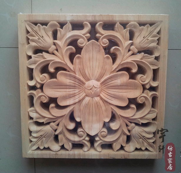 dongyang wood carving applique corner flower corbel motif fashion applique wood square applique flower furniture flower appliques for furniture
