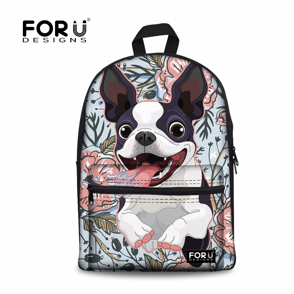 FORUDESIGNS Women Backpack Boston Terrier Printing Canvas Backpacks Feminime Shoulder Bag for Teen Girls Kawaii School Back Pack