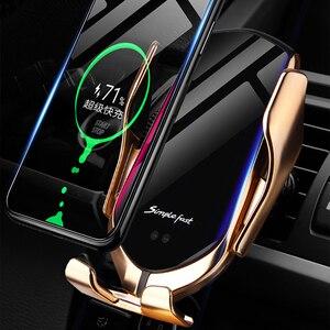 Image 4 - Qi Drahtlose Auto Ladegerät 10W Schnelle Lade Halter Kompatibel Automatische Spann Schnelle Lade Telefon Halter Halterung Für Smartphone