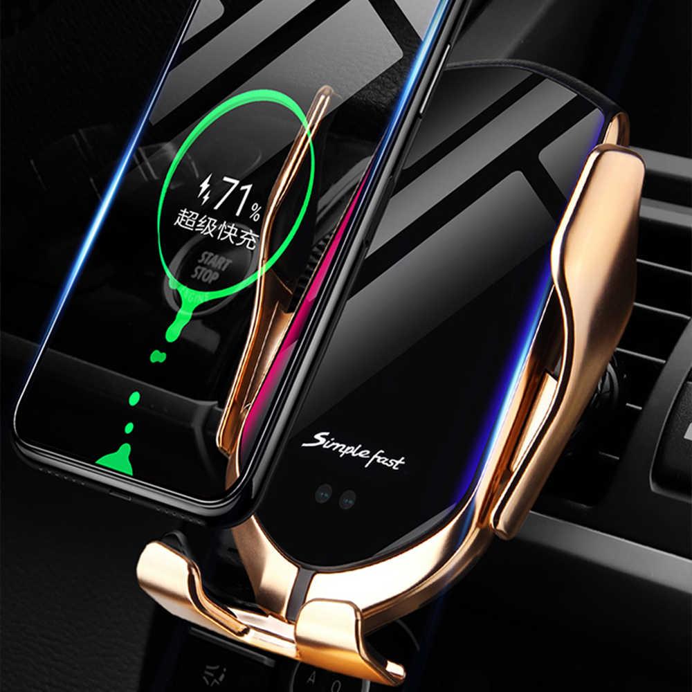 Qi chargeur de voiture sans fil 10W support de charge rapide Compatible serrage automatique rapide charge support de téléphone pour téléphone intelligent