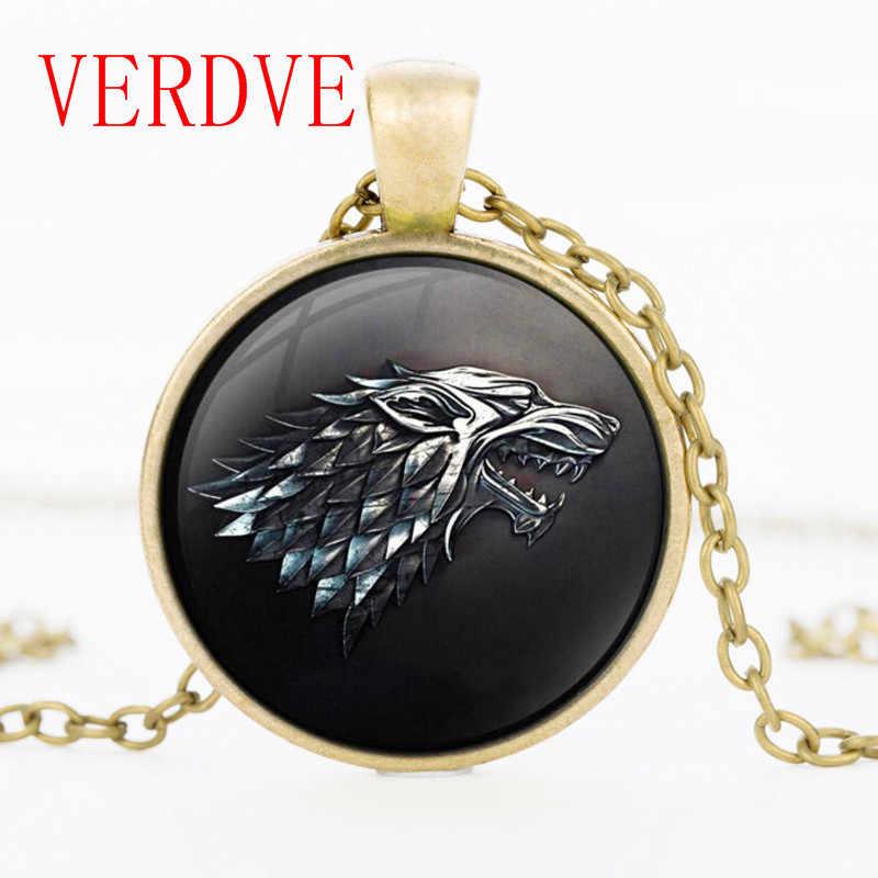 3/màu Trò Chơi của Of Thrones Vòng Cổ Mặt Dây Chuyền Nhà của Stark Black Wolf Đồ Trang Sức Gothic Kính Mặt Dây Chuyền Vòng Cổ Áo Len Chuỗi quà tặng
