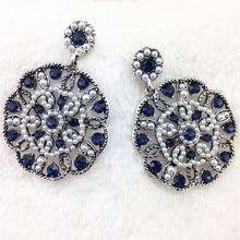 2016 New Big Crystal Luxury Jewelry Dangle Earrings Fashion Jewelry Drop Earrings Vintage Brand Statement Earrings For Women