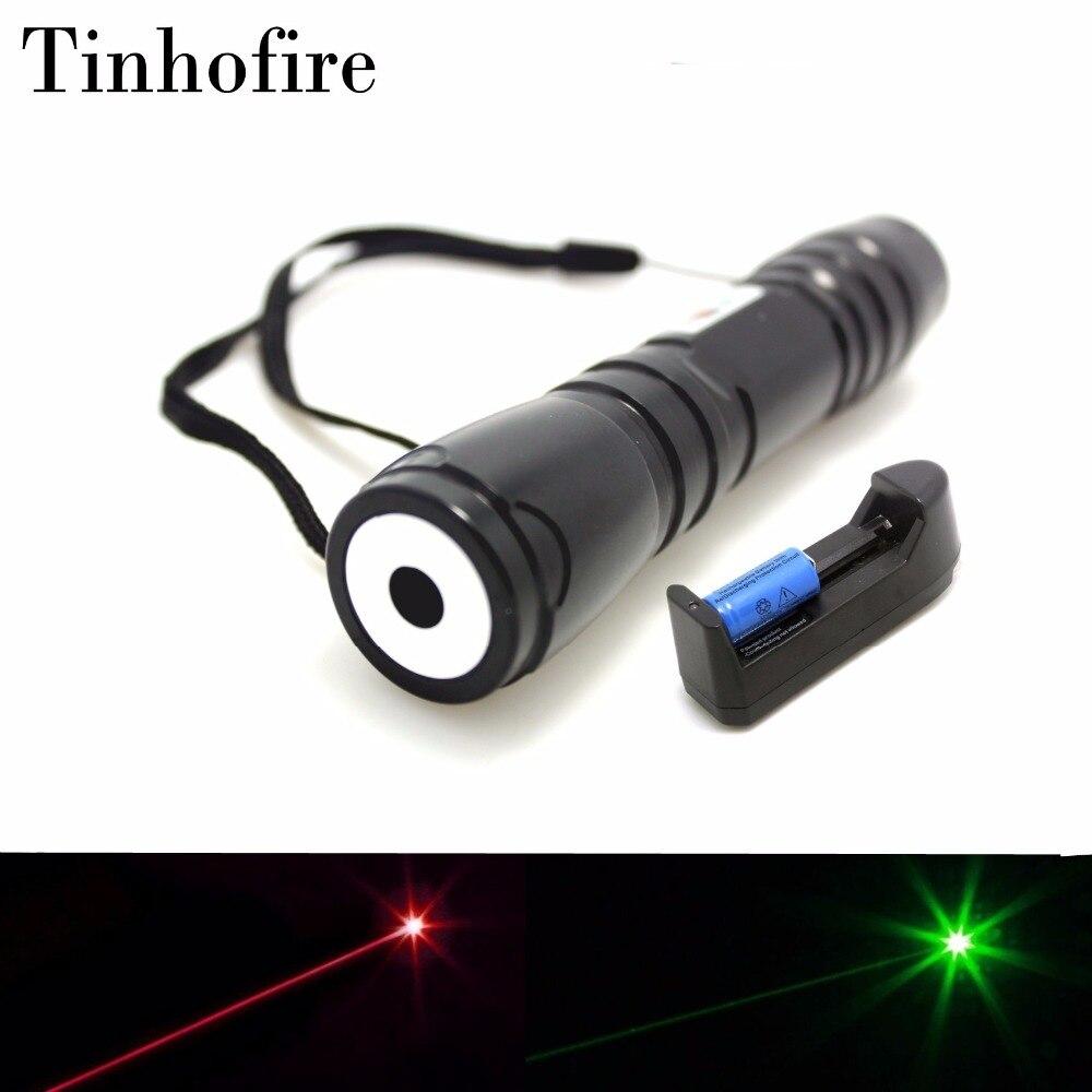 Tinhofire 619 Black Professional Laser High Power Green Red 5mw Laser 10000m Laser Pointer Pen 16340 Battery
