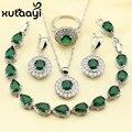 XUTAAYI Elegante Verde Esmeralda 4 PCS Imitado Conjunto de Jóias de Prata Esterlina 925 Colar Brincos Anel Pulseira Pingente