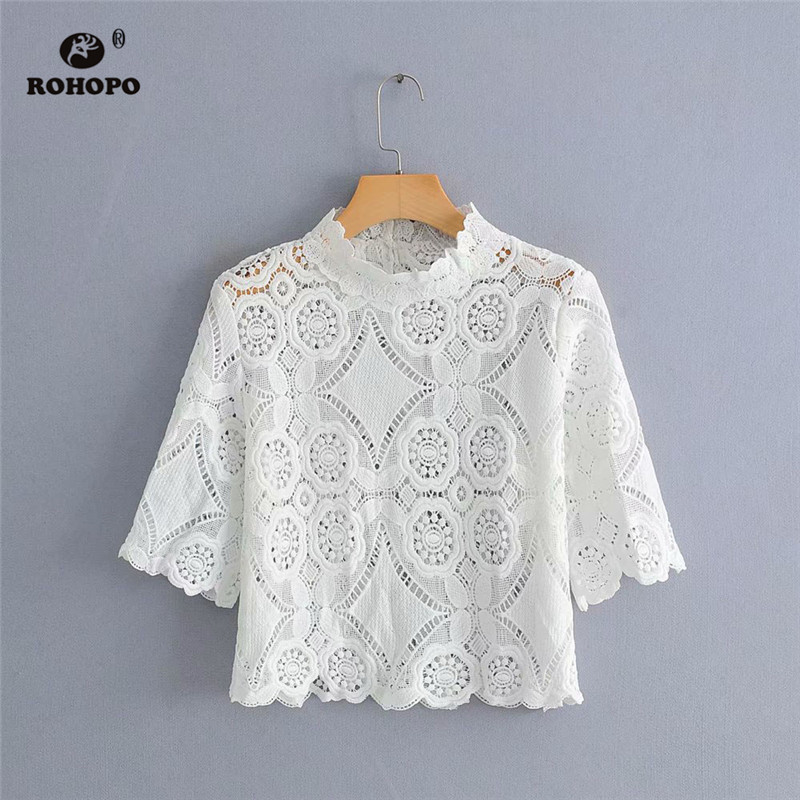 ROHOPO Women White Lace Hollow Out Tops Tee Short Sleeve Half Turtle Neck Embroidery Chic Preppy Girl Pollover Shirt #HB9019