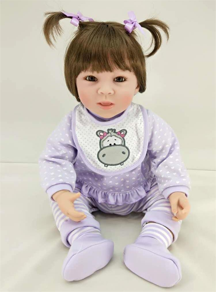 Pursue 20/50 cm Purple Dress Baby Alive Silicone Reborn Toddler Princess Baby Girl Doll Toys for Children Girls House Play Doll pursue 24 60 cm black hair baby alive silicone reborn toddler princess girl baby doll toys for children girls house play dolls