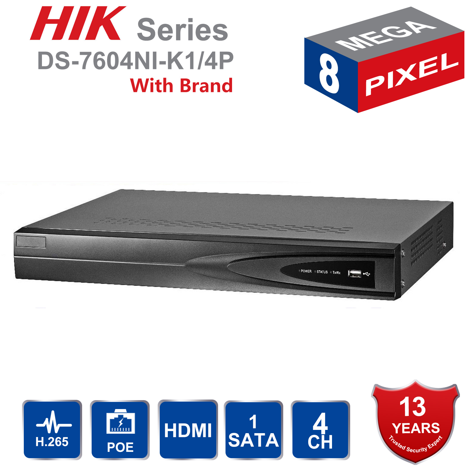 Hik Original Inglês 4CH PoE NVR DS-7604NI-K1/4 P 4 Canais Incorporado Plug Play NVR com 4 4K portas PoE para a Câmera IP Sistema de CFTV