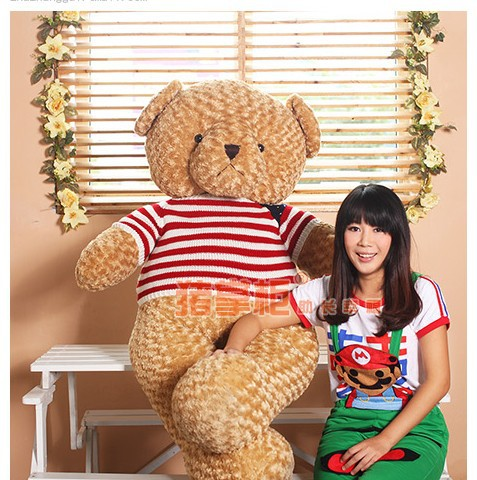 the huge lovely  teddy bear toy plush bear toy with white and red stripe cloth doll birthday gift about 120cm 2pcs pair lovely couple teddy bear with cloth dress plush toy stuffed baby doll girls