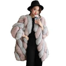pink  new Fur coat elegant imitation fur long artificial color matching warm fox round neck