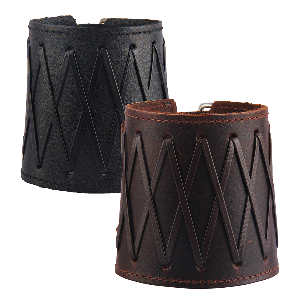 Punk Rock Gothic Wide Bracers PU Leather Arm Guards Gauntlet Cuff Wrist Protector Adjustable Bracers For Men