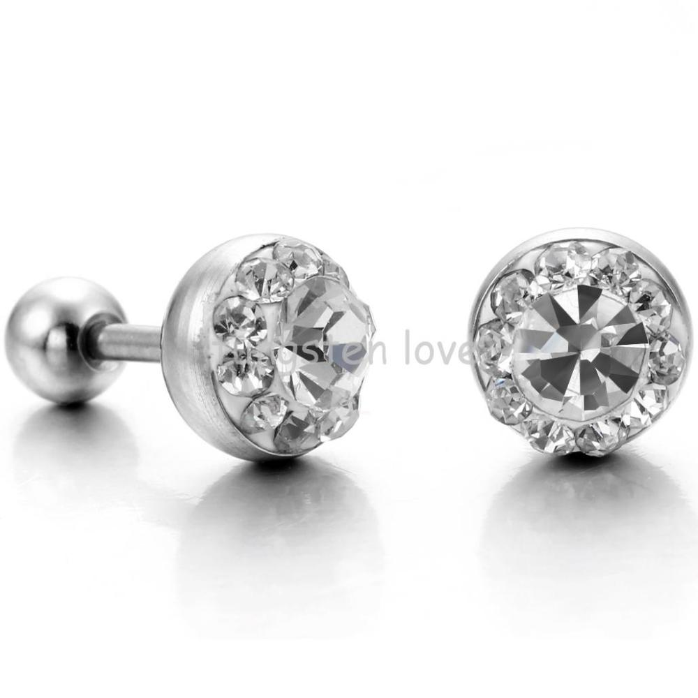 retro antique silver earrings anti allergic stone item clear in from white men black steel stainless s mens zircon stud fashion