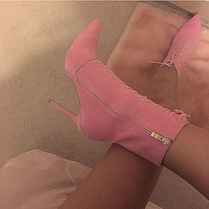 beautiful pink suede ankle women short boots pointed toe thin high heel zipper booties l ...