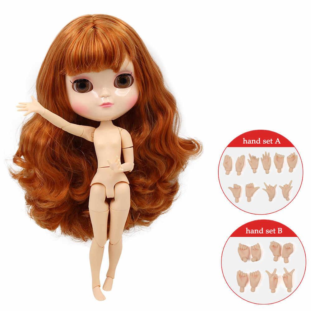 ICY BONECA nua peito pequeno azone conjunta corpo marrom mix gloden 30 centímetros de cabelo encaracolado com franja natural da pele com conjunto de mão No.764A1207