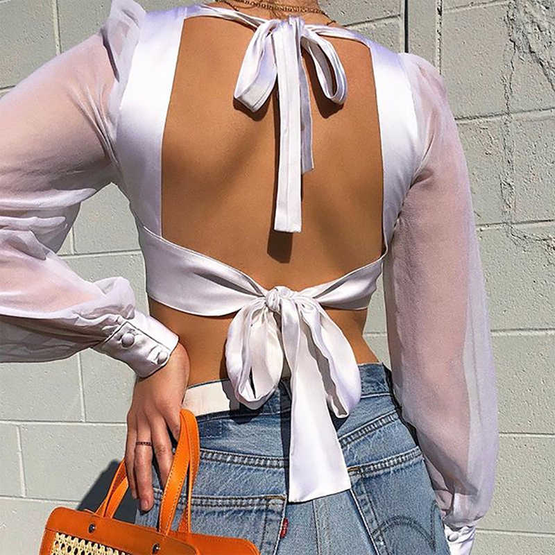 Streetwear Mesh Long Sleeve Crop Top Women Summer White Blouse Sexy Lace Up Backless Ladies Tops Shirt blusas mujer de moda 2019