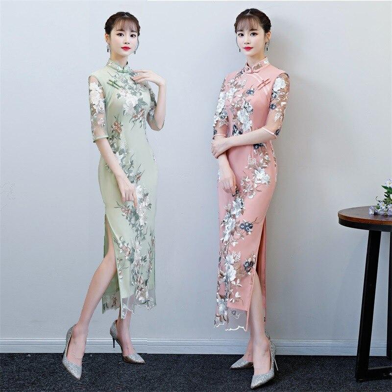 New Arrival Green Chinese Women s Lace Jacquard Qipao Classic Flower Cheongsam Sexy Long Dress Summer