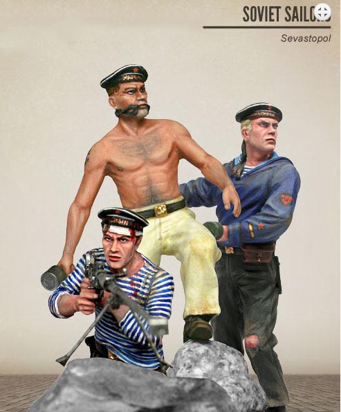 1/35 Soviet Sailors - Sevastopol - 3 Figures   Toy Resin Model Miniature Kit Unassembly Unpainted