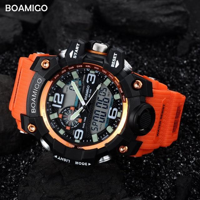 Men Sports Watches BOAMIGO Brand Digital LED Orange Shock Swim Quartz Rubber Wristwatches Waterproof Clock Relogio Masculino 2
