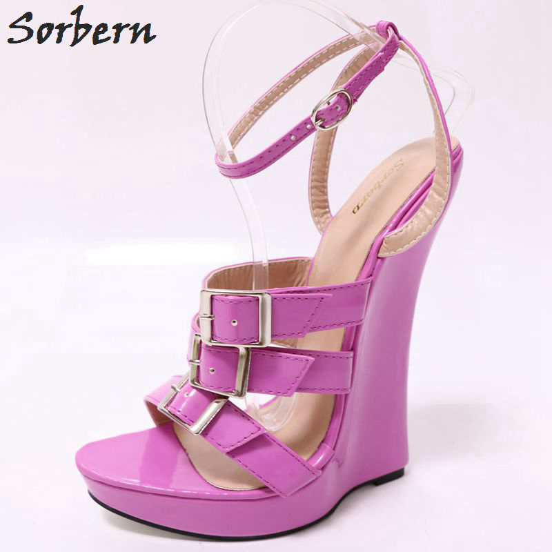 Sandals Sorbern Heels Shoes Wedge Shiny High Women Summer Violet 9YWHDIebE2