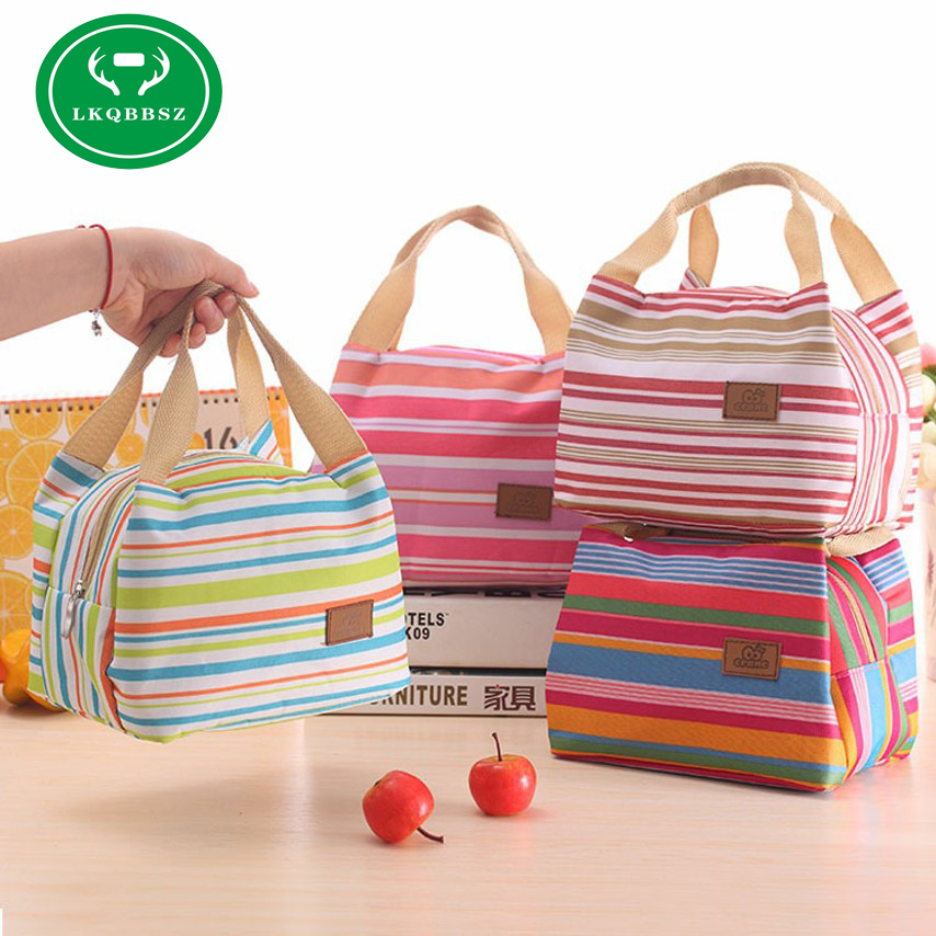 LKQBBSZ Insulated Cold Canvas Stripe Picnic Tote Carry Case Hot Sale Girl Thermal Portable Lunch Bag Bolsa Thermal Bread Box