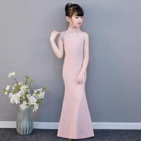 Girls Pink Trumpet Evening Dress Vintage Sleeveless Slim Gown Wedding Party Dress Modis Kids Clothes Vestidos Y1769