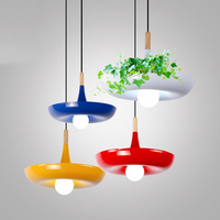 Modern Wood Iron Flower Pot Pendant Lights Living Room Kitchen Fixtures Pendant Lamps Indoor Hanging Lamps Decor Luminaire Avize