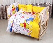 Promotion! 6PCS Cute Crib Bedding Set Soft Baby Sheet Bumpers,Comfortable Baby Bedding Set (3bumpers+matress+pillow+duvet)