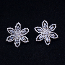 GODKI Brand New hot Fashion Popular Luxury Crystal Zircon Stud Earrings Flower earrings jewelry for women