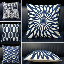 Luxury Home Decor Embroidered Cushion Cover 45*45cm Dark Blue Floral Geometric Canvas Cotton Suqare Embroidery Pillow Sofa